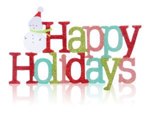 Image says happy holidays and has a snowman