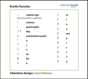 Image shows braille symbols