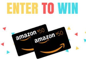 Image says enter to win and shows Amazon gift cards