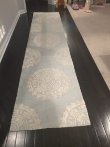 Photo of long narrow carpet on dark wood. This carpet separates room and location of toys.