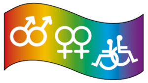 Rainbow with female, male, and wheelchair symbols