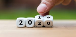 Dice showing 2019 as they turn to 2020