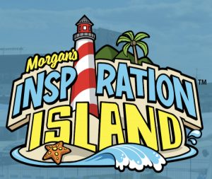 Logo for a Morgan's inspiration island. Morgan's is in cursive colored yellow, inspiration is in COLORED blue, and island is in COLORED yellow. There is a lighthouse positioned vertically to represent the eye in inspiration and the background is clip art of a beach with a starfish, waves, and a palm tree.
