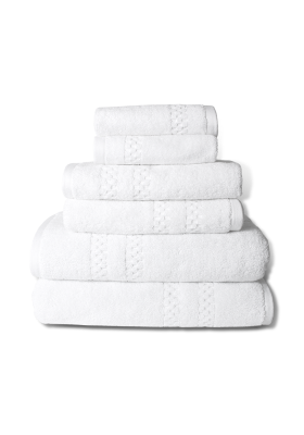 6 piece mini-squares bath towel set